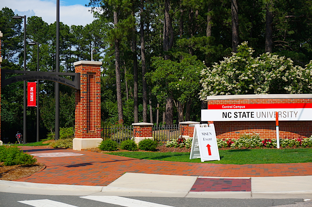 photo of sign at the entrance to north carolina state university